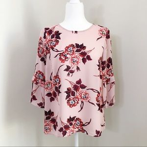 NWT Flowy 3/4 Sleeve Soft Pink Floral Blouse
